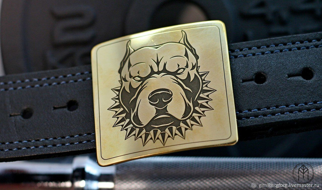 Leather belt with brass buckle ' Pitbull', Straps, Tolyatti,  Фото №1