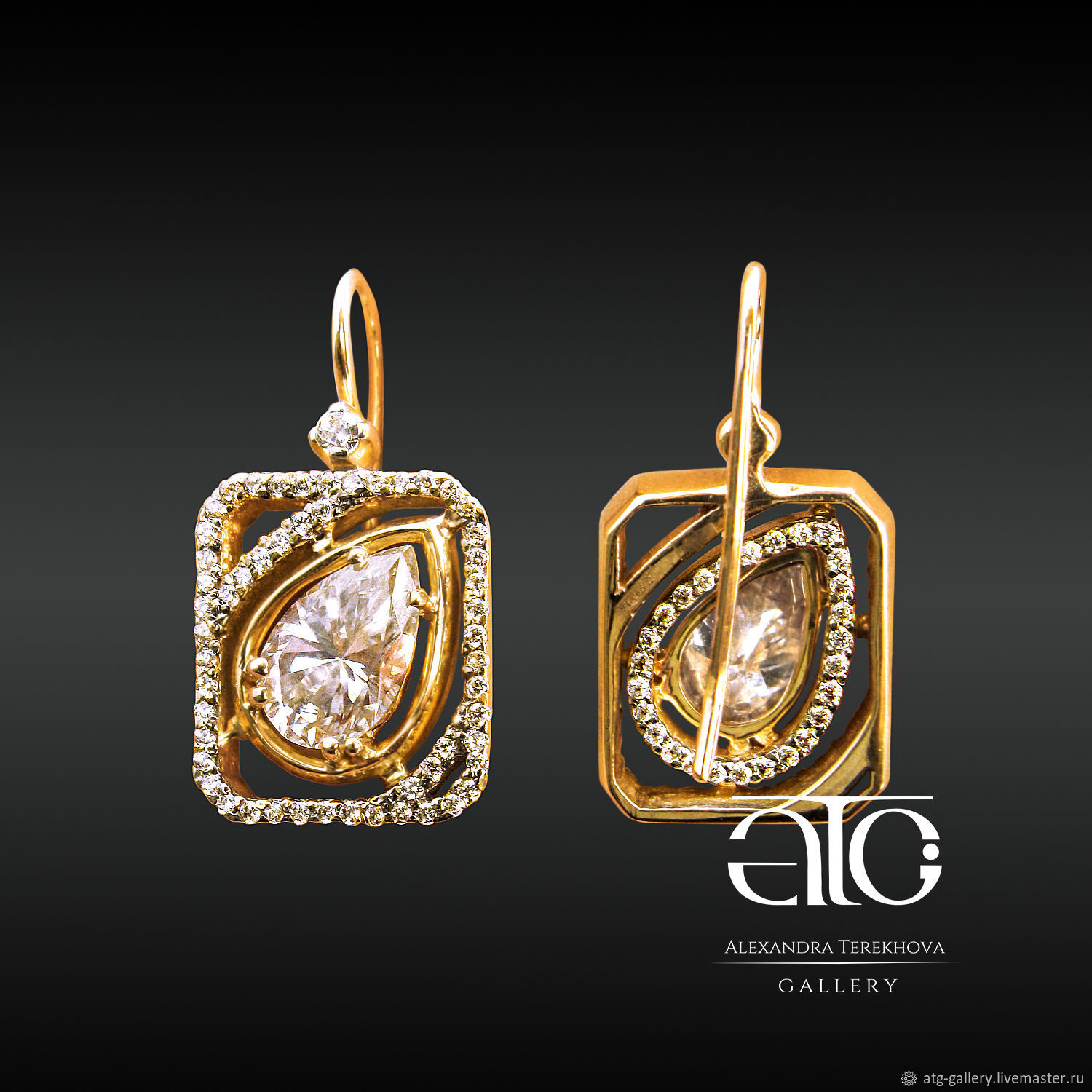 Gold earrings with diamonds and moissanite 5 9 Carat 585 – shop