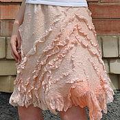 "Одежда ручной работы. Ярмарка Мастеров - ручная работа Шёлковая, валяная юбка ""Нежный Восход"". Handmade."