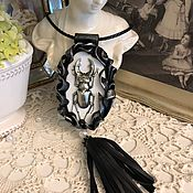 handmade. Livemaster - original item Necklace BEETLE DEER (Leather). Handmade.