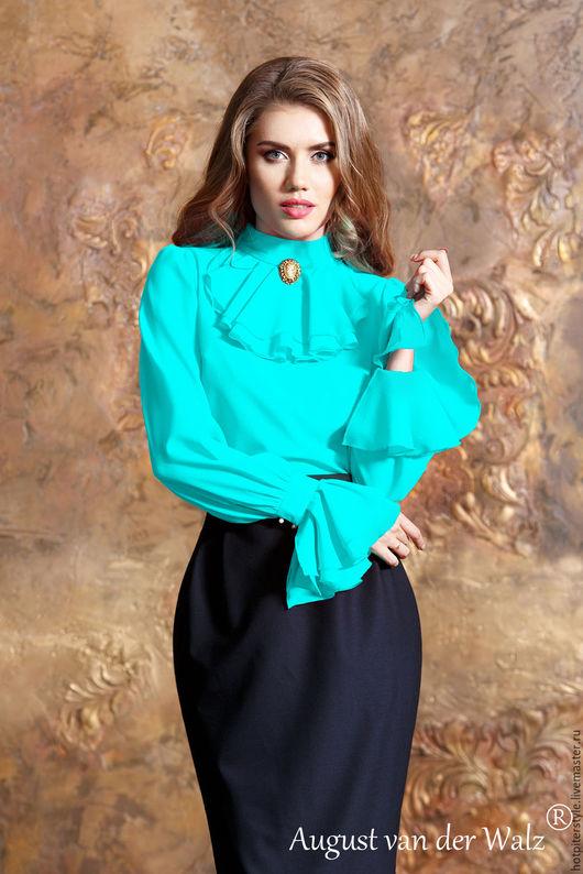 Блузка, Блузка из шифона, Блузка с жабо, блузка бирюзовая, блузка офисная, блузка на каждый день, блузка на осень, блузка в офис, блузка женская, блузка в наличии, блузка ручная работа.
