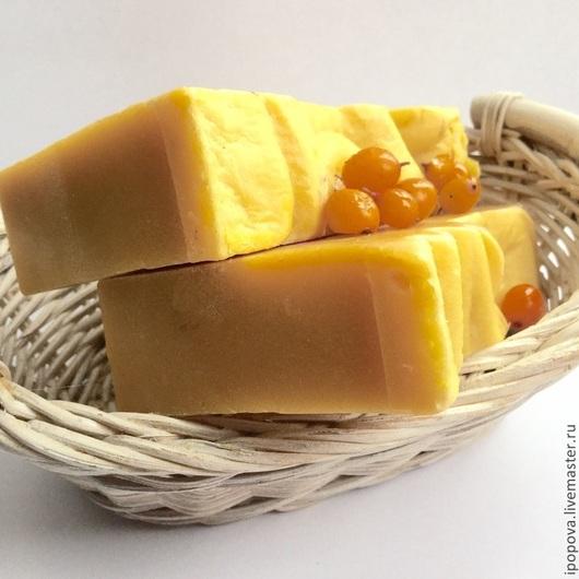 Мыло ручной работы. Ярмарка Мастеров - ручная работа. Купить Мыло увлажняющее  с облепихой и красным пальмовым маслом. Handmade. Желтый