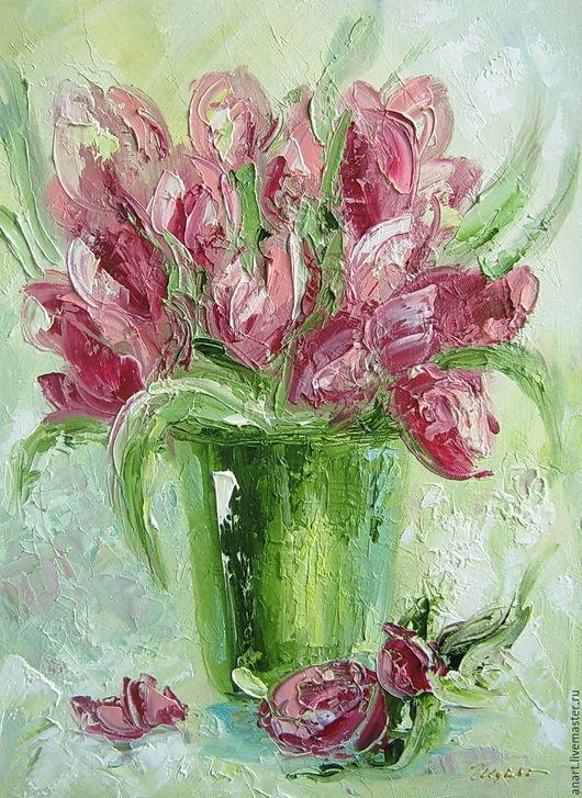 """Картины цветов ручной работы. Ярмарка Мастеров - ручная работа. Купить Картина """"Тюльпаны"""". Handmade. Розовый, тюльпаны, букет, цветы"""