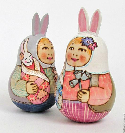 """Матрешки ручной работы. Ярмарка Мастеров - ручная работа. Купить Неваляшка музыкальная """"Заяц и заяц"""", неваляшка деревянная. Handmade. Заяц"""