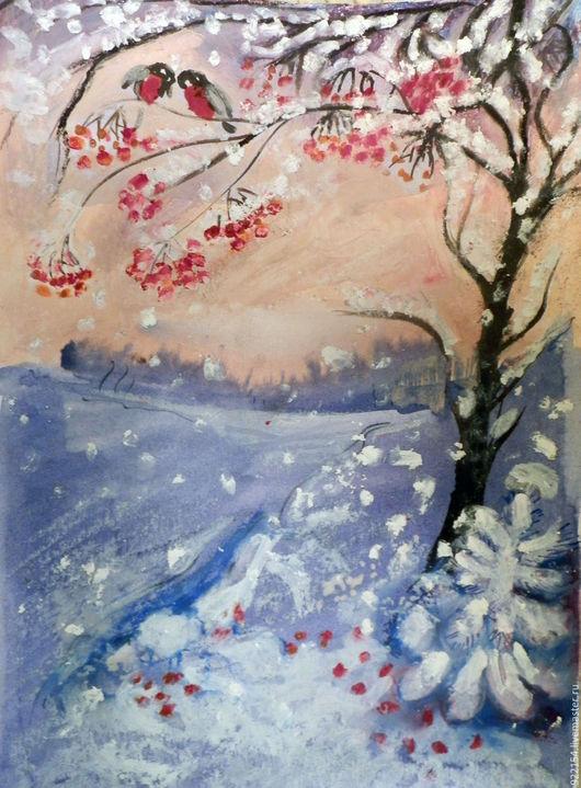 Пейзаж ручной работы. Ярмарка Мастеров - ручная работа. Купить зимняя сказка. Handmade. Разноцветный, снегирь зима, Снег, сказка