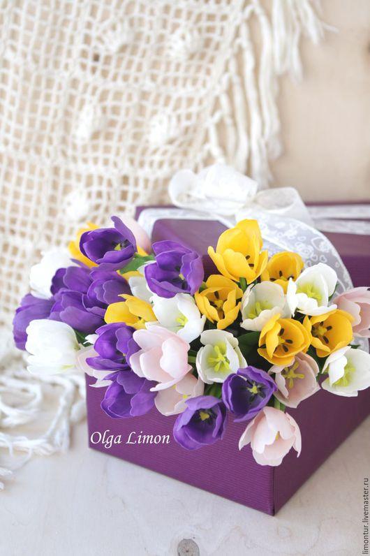 Интерьерные композиции ручной работы. Ярмарка Мастеров - ручная работа. Купить 37 Тюльпанов. Handmade. Фиолетовый, букет цветов