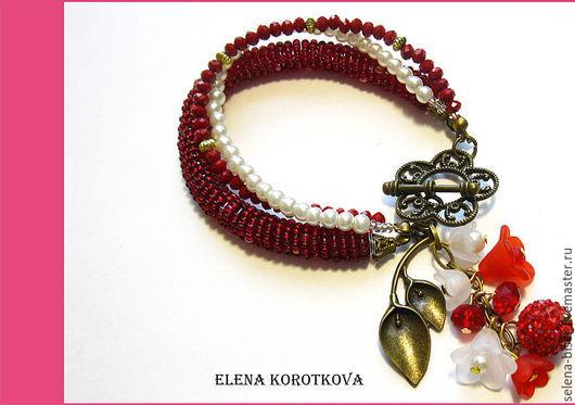 браслет красный купить  браслет объемный,   браслет пышный,   браслет большой,   браслет на руку , летний браслет,   браслет на вечеринку,  браслет яркий,   браслет красный цветочный,   браслет  отдых