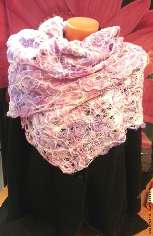 """Шали, палантины ручной работы. Ярмарка Мастеров - ручная работа. Купить Палантин паутинка """"Розовые сны"""". Handmade. Разноцветный"""