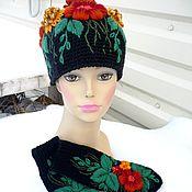 """Аксессуары ручной работы. Ярмарка Мастеров - ручная работа комплект шапка с варежками""""Клумба"""". Handmade."""