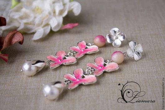 """Серьги ручной работы. Ярмарка Мастеров - ручная работа. Купить Серьги-гвоздики """"Розовая орхидея"""". Handmade. Розовый, серьги нарядные"""