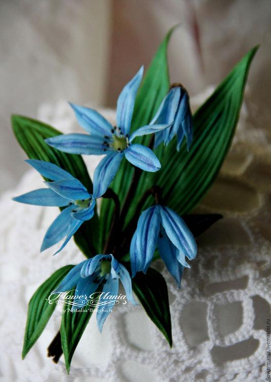 """Цветы ручной работы. Ярмарка Мастеров - ручная работа. Купить """"МАРТ"""". Handmade. Голубой цветок, 12 месяцев, брошь-цветок"""