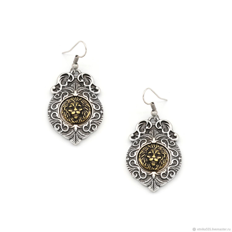 Earrings Golden lion (insert - bronze, peseta), Earrings, Belaya Cerkov,  Фото №1