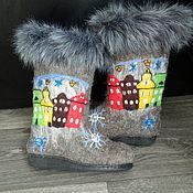 """Обувь ручной работы. Ярмарка Мастеров - ручная работа Валенки """"Путешествие в Стокгольм"""". Handmade."""