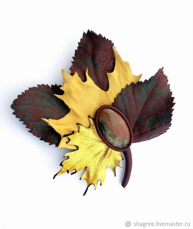 69806ad14fc Shagree (Shagree · Brooches handmade. Brooch leather a Bouquet of autumn  leaves with Jasper.