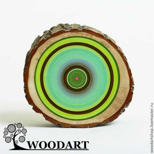 Абстракция ручной работы. Ярмарка Мастеров - ручная работа. Купить Декоративный спил бревна. Handmade. Зеленый, деревянный, интерьерная композиция