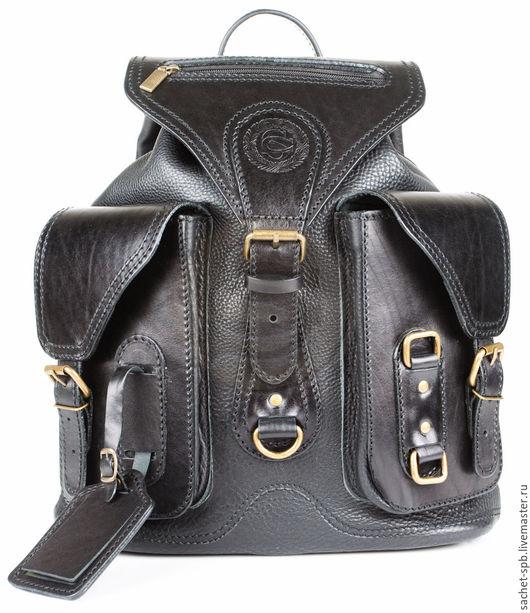 """Рюкзаки ручной работы. Ярмарка Мастеров - ручная работа. Купить Кожаный рюкзак """"Стиль 1"""" черный. Handmade. Черный, рюкзак"""