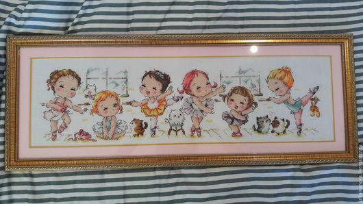 """Люди, ручной работы. Ярмарка Мастеров - ручная работа. Купить Вышивка крестиком, картина """"Балетная школа"""". Handmade. Бледно-розовый"""