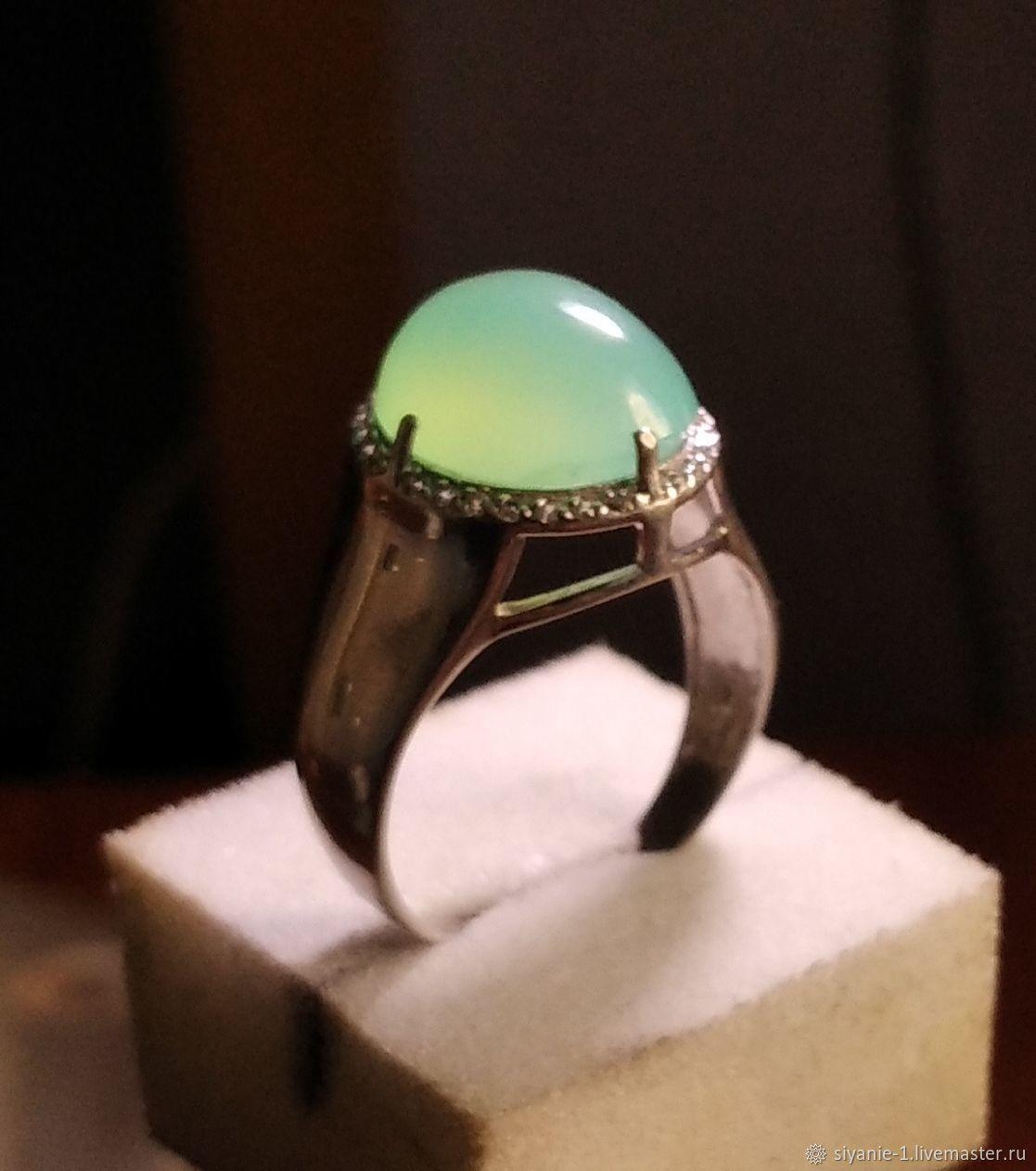 Кольцо серебряное с хризопразом натуральным, Кольца, Кострома,  Фото №1