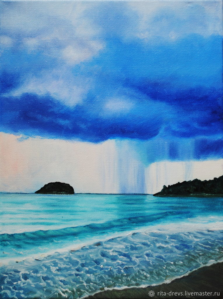 Oil painting Rain in the Andaman sea, Pictures, Rostov-on-Don,  Фото №1