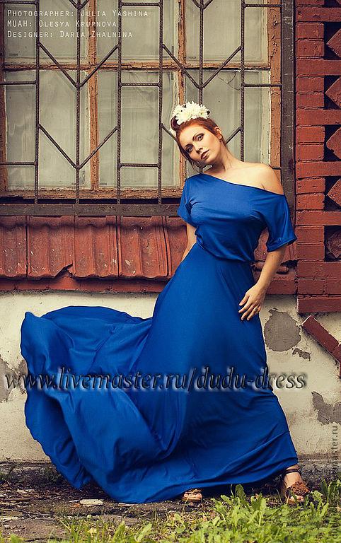 Платья ручной работы. Ярмарка Мастеров - ручная работа. Купить Платье свободного кроя синий электрик. Handmade. Синий, красивое