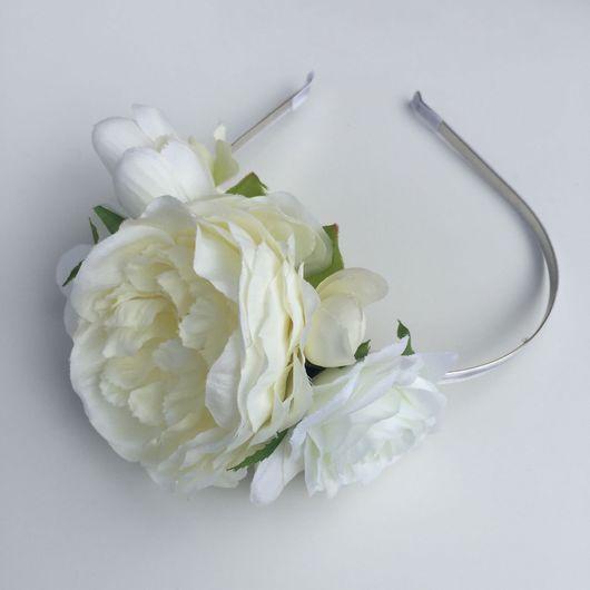 Диадемы, обручи ручной работы. Ярмарка Мастеров - ручная работа. Купить Ободок белый с крупными цветами. Handmade. Ободок для волос