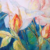 Картины ручной работы. Ярмарка Мастеров - ручная работа Картина Роза Цветы Белая Роза Холст масло 60х50. Handmade.