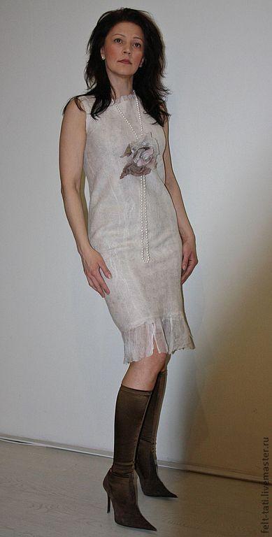 """Платья ручной работы. Ярмарка Мастеров - ручная работа. Купить Платье """"Cream pearls"""". Handmade. Бежевый, нуновойлок"""