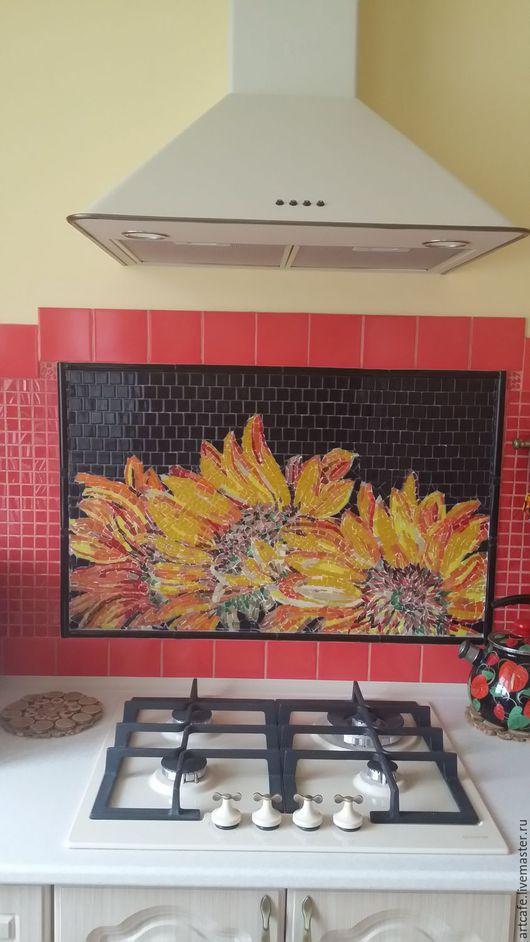 """Картины цветов ручной работы. Ярмарка Мастеров - ручная работа. Купить Панно """"Подсолнухи на солнце"""" мозаика. Handmade. Комбинированный, зал"""