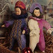Подарки к праздникам ручной работы. Ярмарка Мастеров - ручная работа Ватные игрушки. Два Арлекино.. Handmade.