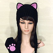 Аксессуары ручной работы. Ярмарка Мастеров - ручная работа Шапка с ушками Кошка вязаная женская черная теплая. Handmade.