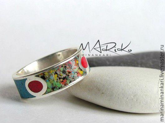 Кольца ручной работы. Ярмарка Мастеров - ручная работа. Купить Кольцо Мозаика с перегородчатой эмалью. Handmade. Комбинированный, перегородчатая эмаль