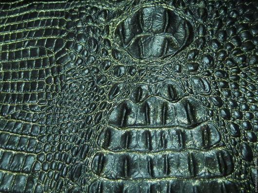 Шитье ручной работы. Ярмарка Мастеров - ручная работа. Купить Кожа натуральная Рептилия черное с золотым. Handmade. Кожа