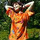 """Блузки ручной работы. Ярмарка Мастеров - ручная работа. Купить Шелковая блуза """"Жуки"""" батик. Handmade. Рыжий, блуза из шелка"""