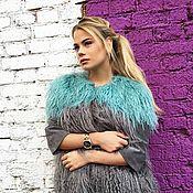 Одежда ручной работы. Ярмарка Мастеров - ручная работа Куртка из Ламы Серая с салатовым расшив замшевая кожа индивидуальная. Handmade.