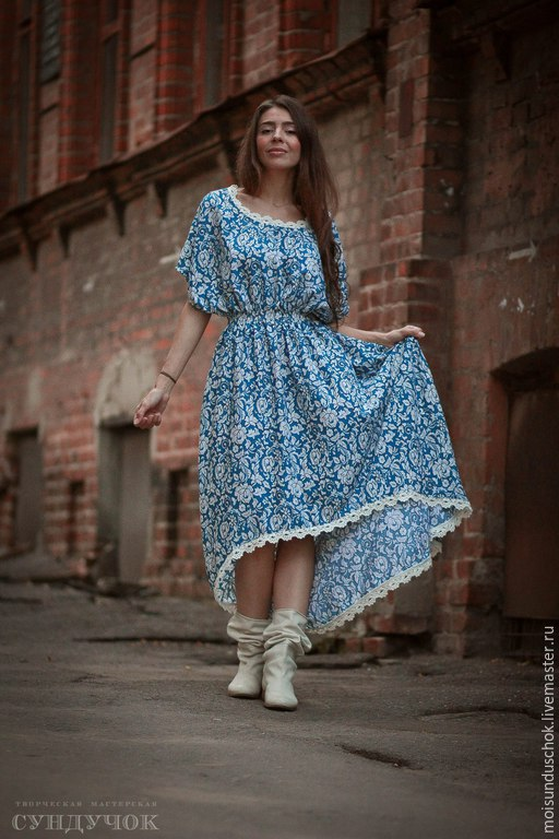 """Платья ручной работы. Ярмарка Мастеров - ручная работа. Купить Платье """" Гжель"""". Handmade. Голубой, отделка кружевом"""