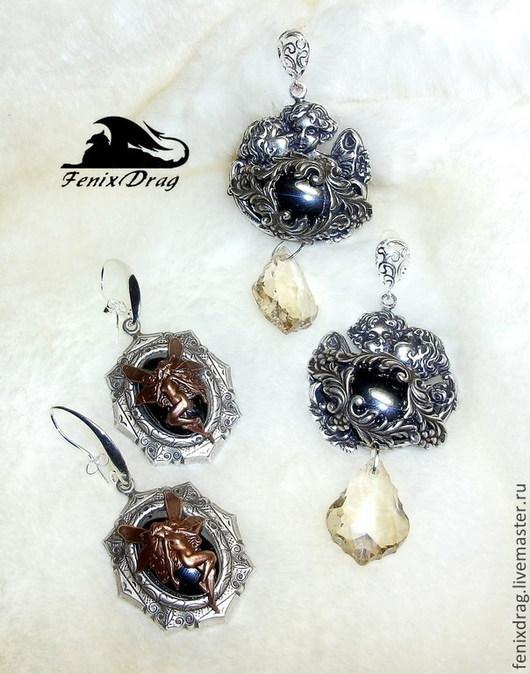 Винтажные серьги гематит покрытие серебром Авторские / дизайнерские украшения ручная работа