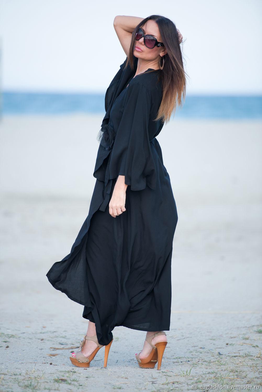 Платье из хлопка черного цвета фото образы