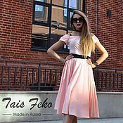 Одежда ручной работы. Ярмарка Мастеров - ручная работа Платье TAIS П-3 Юбка солнце 60см Нежный персик. Handmade.