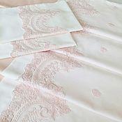 Для дома и интерьера ручной работы. Ярмарка Мастеров - ручная работа Постельное белье Лейла с кордовым кружевом из розового и белого сатина. Handmade.