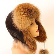 Аксессуары ручной работы. Ярмарка Мастеров - ручная работа Женская меховая шапка ушанка из рыжей лисы. Handmade.