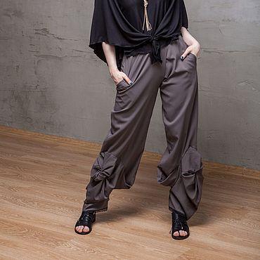 Одежда ручной работы. Ярмарка Мастеров - ручная работа С_048 Шитые прямые брюки Crazy Legs, цвет серый. Handmade.