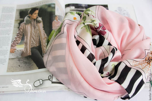 """Шали, палантины ручной работы. Ярмарка Мастеров - ручная работа. Купить Шёлковый платок из ткани  DIOR """"Bateau Fleuri"""" бледно розовый. Handmade."""