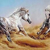 Материалы для творчества ручной работы. Ярмарка Мастеров - ручная работа Схема вышивки ``Резвые кони``. Handmade.
