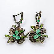 Украшения handmade. Livemaster - original item Handmade earrings in silver with natural emeralds and diopsides. Handmade.