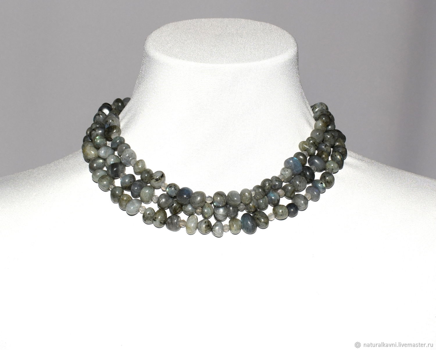 Multi-row necklace/beads from natural Labrador (m), Necklace, Moscow,  Фото №1