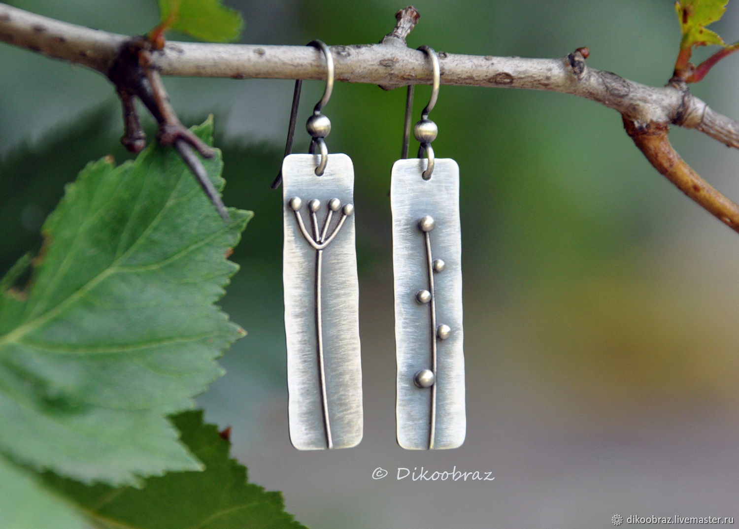 Classic earrings: 925 silver without inserts, dried Flowers, Earrings, Moscow,  Фото №1