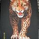"""Животные ручной работы. Ярмарка Мастеров - ручная работа. Купить вышитое панно """"Леопард"""". Handmade. Разноцветный, леопард, оранжевый цвет"""