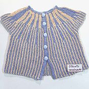 Работы для детей, handmade. Livemaster - original item Knitted baby sweater for a newborn made of cotton with silk. Handmade.