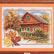 Картины и панно handmade. Livemaster - original item Embroidery hand painting Village.Autumn. Handmade.