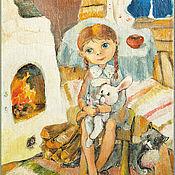 Для дома и интерьера handmade. Livemaster - original item Darenka at the stove Picture for girls Print Author`s reproduction. Handmade.